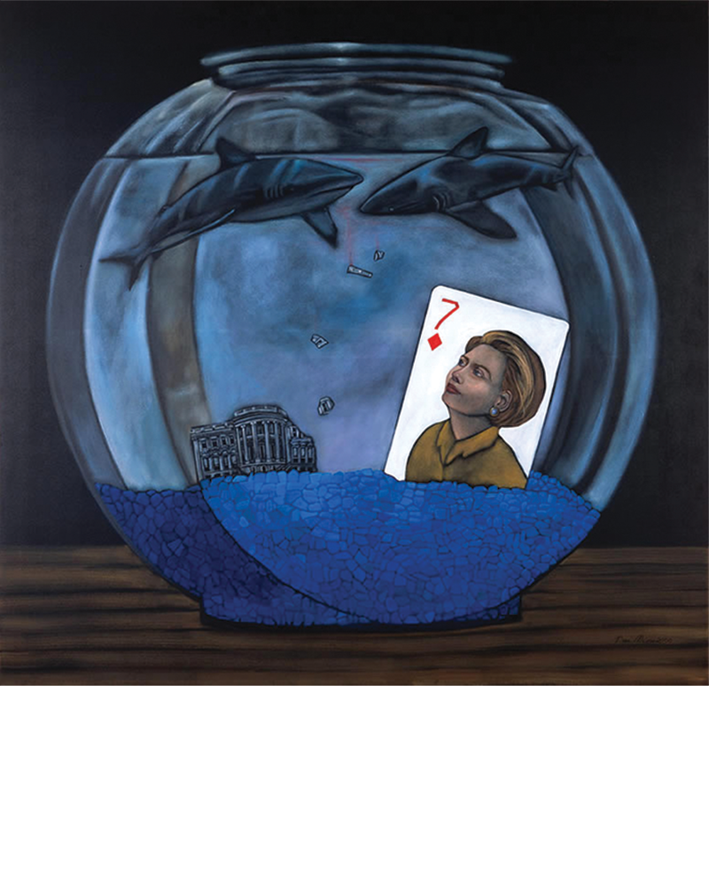 Fishbowl - Hillary Rodham Clinton, Seven of Diamonds, Tina Mion painting