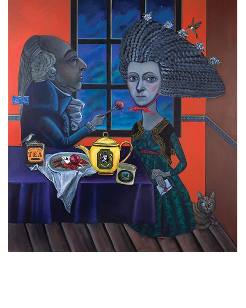 Plums - Abigail Adams, Seven of Spades, Tina Mion painting