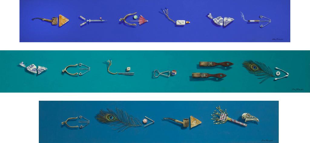 Trash Fish Blue, Trash Fish Green, Trash Fish Teal Tina Mion art objects painting